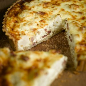 Godminster cauliflower cheese and bacon tart