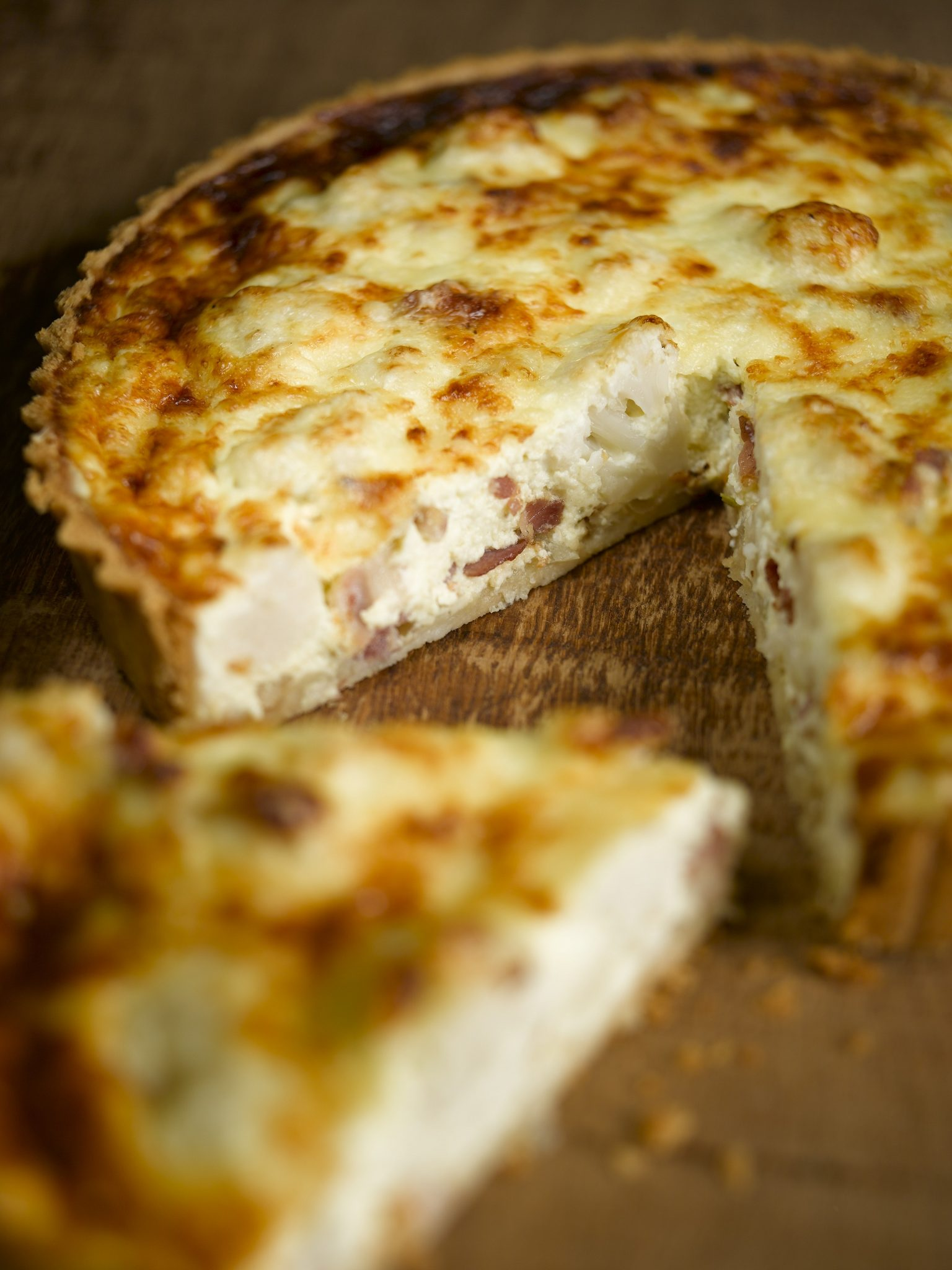 Godminster cauliflower cheese and bacon tart