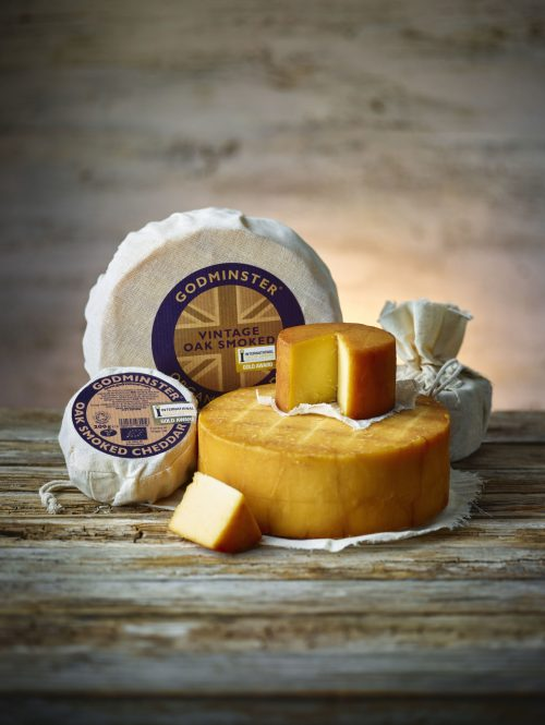 Godminster Oak-Smoked Vintage Organic Cheddar Family Pile