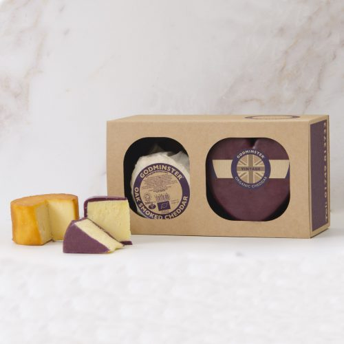 Godminster Heart-Shaped Vintage Organic Cheddar and Oak-Smoked Combo