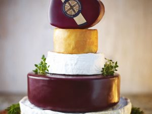 Godminster Cheese Celebration Cake with Heart-Shaped Cheddar