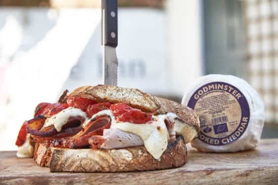Godminster Oak-Smoked Vintage Cheddar, Coppa De Parma And Slow Roast Tomato