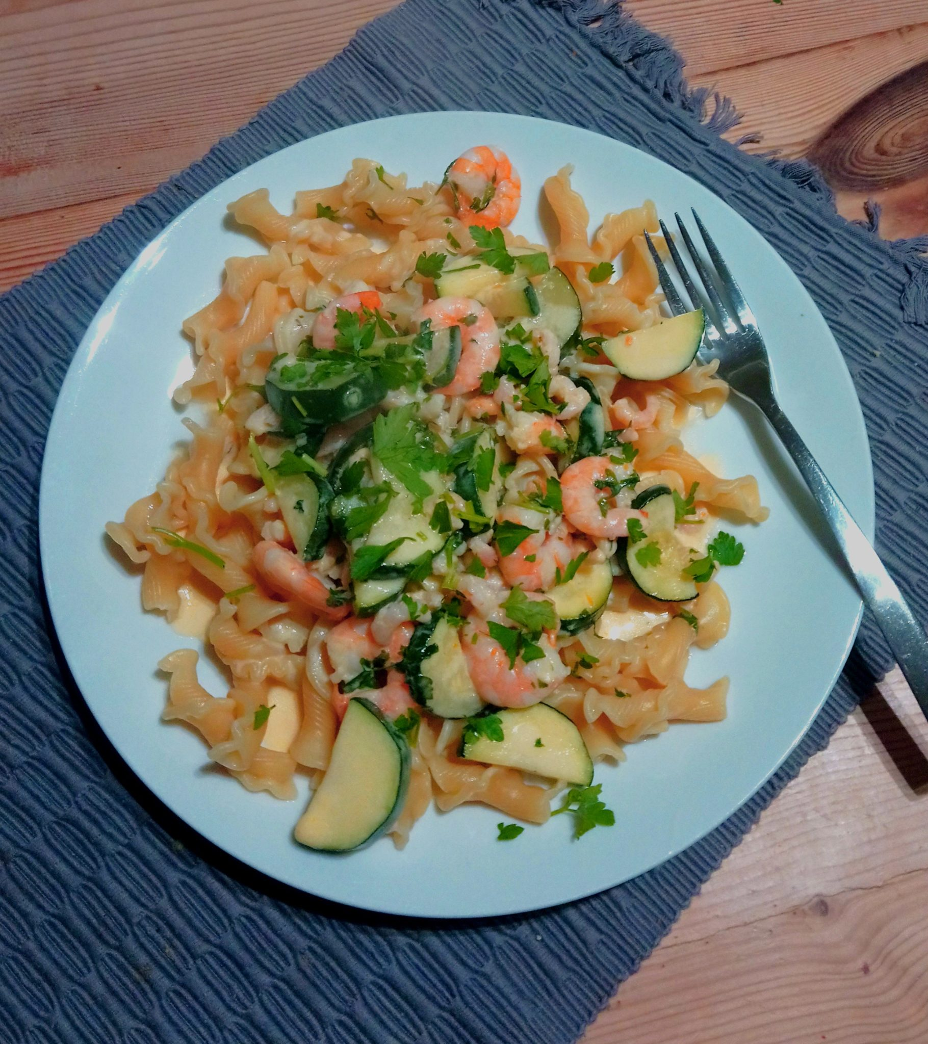 Cheesy Prawn Pasta on a plate