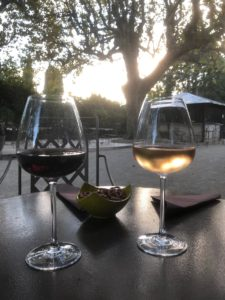 Sunset with wine glasses