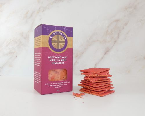 80g Beetroot and Nigella Seed Crackers with crackers